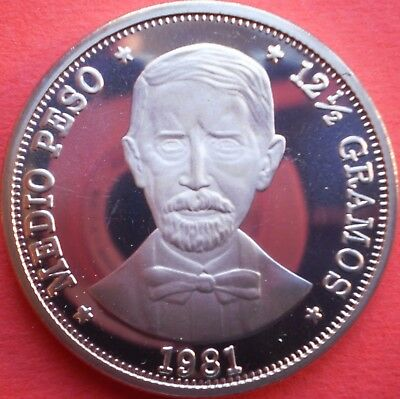 DOMINICAN REPUBLIC 1/2 PESO 1981 PROOF Dominicana Dominikanische Dominicaine Dom