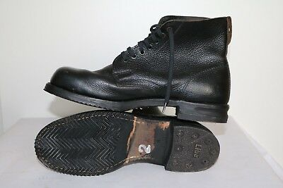 Swedish Army Work Combat Boots Full leather black USED VINTAGE authentic (1)