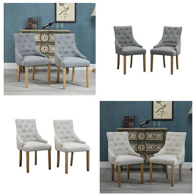 Set of 2 Dining Accent Chair Curved Shape Button Tufted Fabric Upholstered