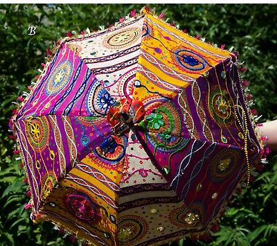 """Indian  embroidered, patchwork parasol/sunshade. Cotton. 26"""". UK seller."""