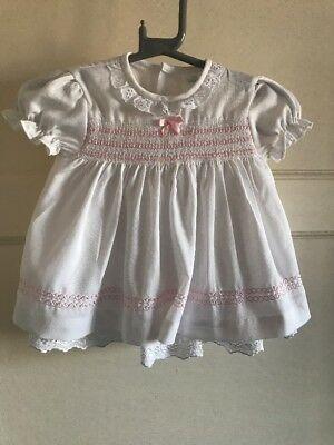 Baby Girls Vintage Smocked Detail White Pink Mackays Dress 0-3 Months