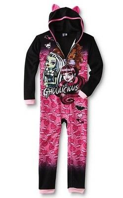 MONSTER High Pajamas NeW Girls 10/12 Fleece HOODED Warm Winter Zip-Up Hoodie Pjs