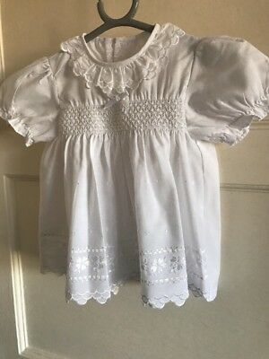 Baby Girls Vintage Smocked Detail White George  Dress 3-6 Months Embroidered