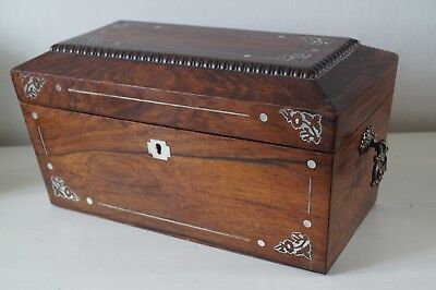 19th Century Sarcophagus Style Mother of Pearl Inlaid Rosewood Tea Caddy