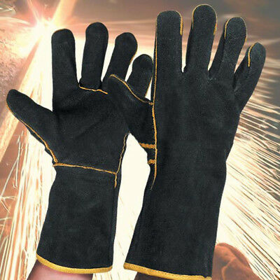 1 Pair 35cm Heavy Duty Black Mig Welding Gloves Gauntlets Welders Leather Gloves