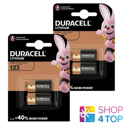 4 Duracell Cr123 Lithium Batteries 3V Dl123A 123A Exp 2027 New