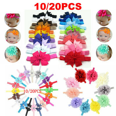 10/20pcs Elastic Baby Headdress Kids Hair Band Girls Bow Newborn Headband UK