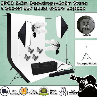 Continuous Lighting Studio Softbox Chroma Black White Backdrop+Support Stand Kit