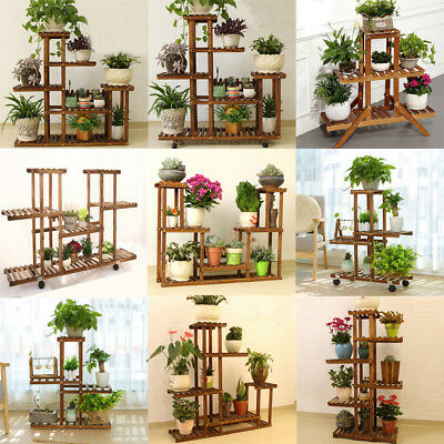 Wooden Plant Stand Indoor Outdoor Patio Garden Planter Flower Pot Shelf