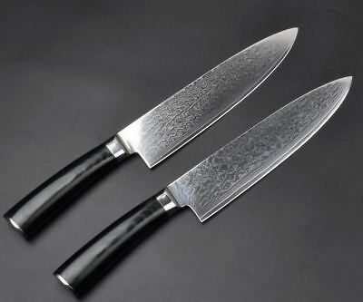 VG10 Japanese Damascus Steel Chef Kitchen Knife-Micarta Handle-8 Inch Blade