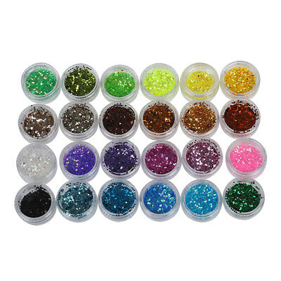 Lot 24 color sequin glitter deco chips nail manicure acrylic gel. H8K6