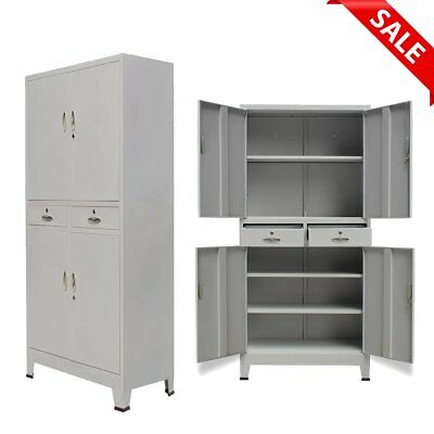 Metal Office Filing Cabinet Steel Tools Book Storage Cupboard 4 Doors 2 Drawers