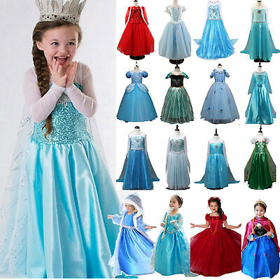Kids Girls Cinderella Outfit Costume Frozen Princess Queen Party Fancy Dress Lot