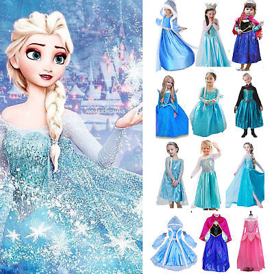 Kids Girls Frozen Anna Elsa Princess Party Fancy Dress Up Cosplay Costume Outfit