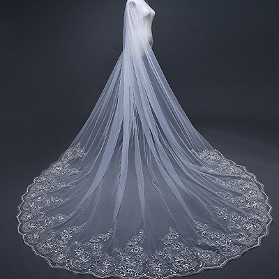 White Ivory 1T 3M Cathedral Applique Edge Lace Bridal Wedding Veil With Comb UK