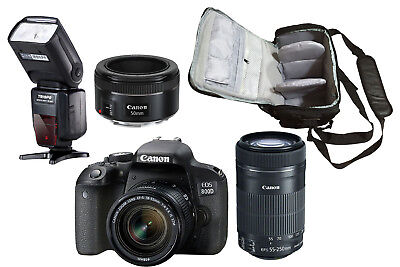 NEW Canon 800D + 18-55mm+55-250mm+50mm STM + Bag + Flash - UK NEXT DAY DEL