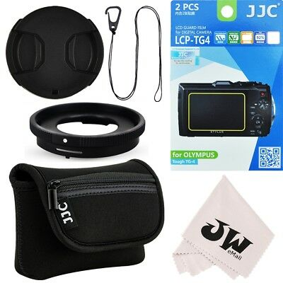 6in1 Kit Lens Adapter+Camera Pouch+Screen Protector for Olympus TG-5 TG-4 TG-3