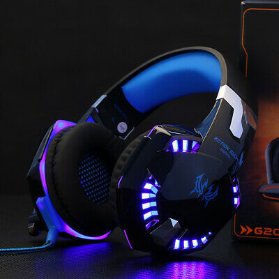 3.5mm Gaming Kopfhörer mit Mikrofon Over Ear Surround Sound Ohrhörer Blau