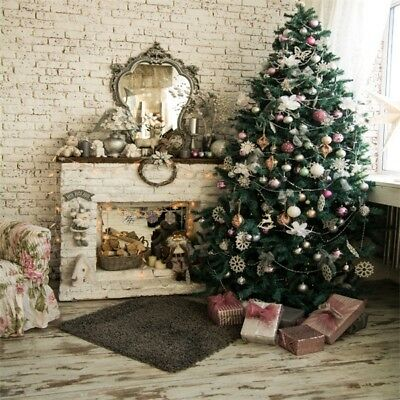10x10Ft Vinyl Photo Backdrops Christmas Tree Vintage Brick Wall Photography