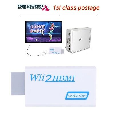 Wii to HDMI Wii2HDMI Adapter Universal Full HD 3.5mm Outputs Video Plug and Play