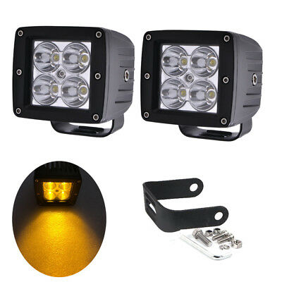 2X 3inch Amber Led Work Light Cube Pods Head Lamp ATV Truck SUV Driving Offroad