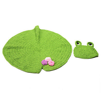 Lovely Baby Crochet Costume Frog Hat Blanket Outfit Set Photo Photography Props