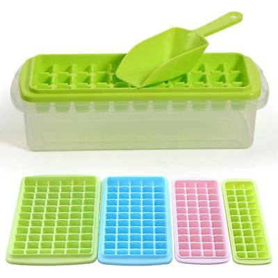 33-66 Grids Ice Cube Maker Tray Mold with Lid/Scoop/storage Case Box Freezer Set