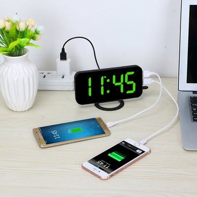 Ultra Thin Auto Time Set Alarm Clock With Dual USB Port For Phone Charger Snooze