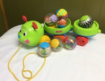 Fisher Price Roll A Rounds Pull & Spin  Caterpillar Toddler Toy