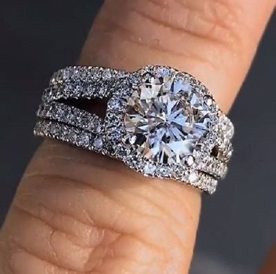 Certified 3.00Ct Round Halo Engagement Wedding Ring Set in Solid 14k White Gold