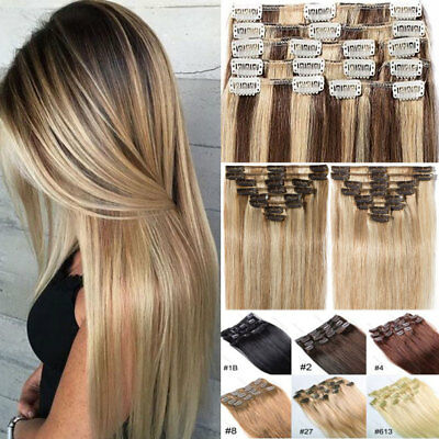 """18 20 22 24"""" Remy Real Human Hair Extensions Full Head Clip in Highlight Curl UK"""