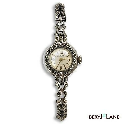 Vintage Art Deco Sterling Silver Marcasite Swiss Herma Wrist Watch, German Case