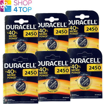6 Duracell Cr2450 Lithium Batteries 3V Coin Cell Dl2430 Br2430 Exp 2027 New