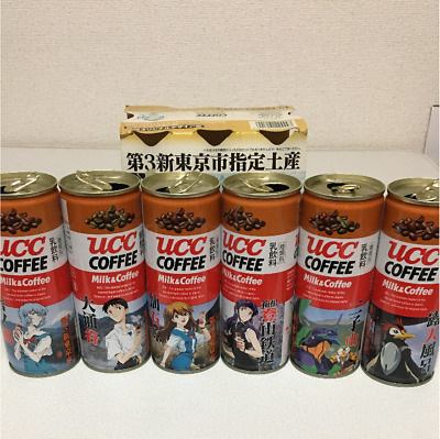 Evangelion × UCC Coffee Can Box Empty Cans Set of 6 Japan Hakone Limited Used
