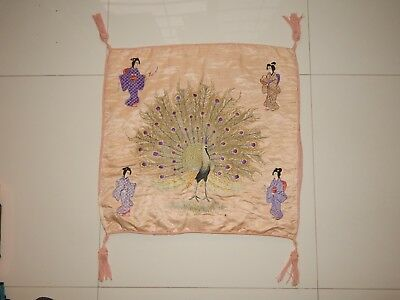 Antique Chinese/Japanese Hand Embroidery Silk Figurative Cushion 54X54cm (X570)