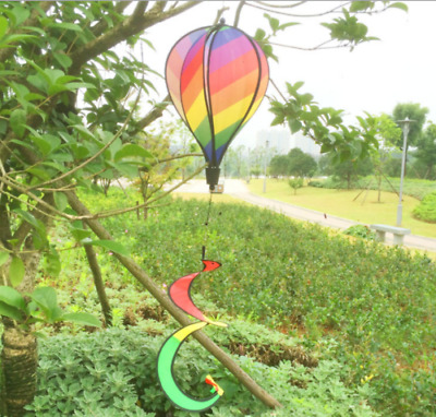 Striped Rainbow Windsock Hot Air Balloon Wind Spinner Garden Yard Outdoor Decor