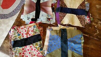 Vintage Lot Of 35 Quilt Squares- Hand Pieced Vintage Fabrics!