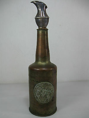 An Old Rare Brass Bottle With A Hinged Jug Shaped Silver Plated Cork Bottle Lid