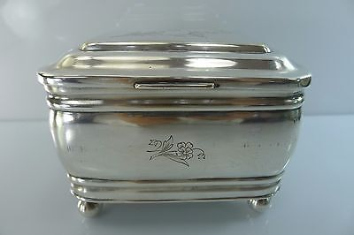 An Old Fraget N Plaque Solid Silver Plate Hinged Lid Jewelry Box