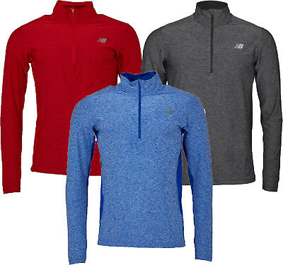 NEW BALANCE HEATHERED 1/2 ZIP RUNNING TOP in BLUE, RED OR GREY- FREE DELIVERY