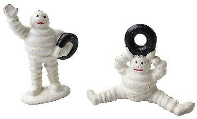 2 Mini Michelin Man Figurines with Tyres - Cast Iron Ornaments