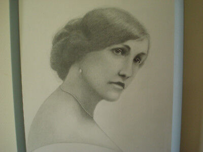 Portrait Of Elegant Victorian Lady With Pearl -Original Graphite Signed