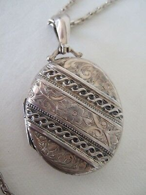 "Large engraved Victorian sterling locket on 23"" sterling chain"