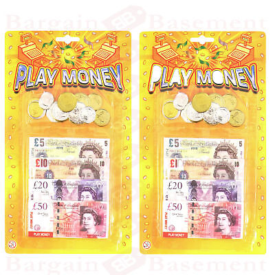 2x Childrens Kids Play Fake Pretend Money Role Shop Cash £ Pound Notes Coins Toy