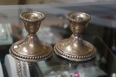 Vintage sterling Silver - Weighted Candle Sticks Holders Nice condition