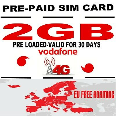 Vodafone PAYG Trio Data Sim card Pre loaded with 2GB Roaming data for EU RRP £10