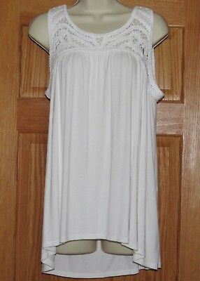 LARGE Maternity Top HIGH LOW Tank NWT Blouse NEW a glow White Sleeveless L 12