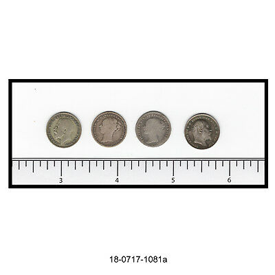 Lot of Four Great Britain Three Pence Silver Coins