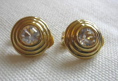 Pair of ART DECO Style CLIP ON Earrings each one set with a Large Diamante