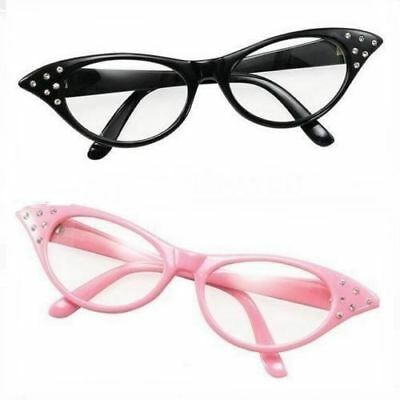 Women's Girls 50s 60s Rock Roll Retro Grease Glasses Fancy Dress.